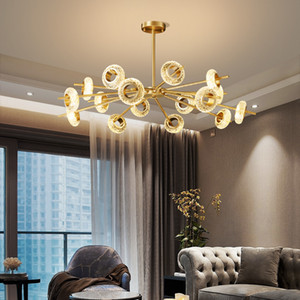New Crack Crystal LED Chandelier Lighting Modern for Living Room Dining Bedroom Loft Luxury Copper Ceiling Pendant Lamp Home