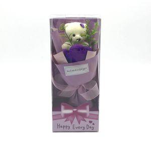 Lovely Bear Bear Multicolor Soap Flower con Regalos Caja Originalidad Single Package Red Rose Valentines Maestros Día Ceremonia de Boda Regalo 5QQ J2