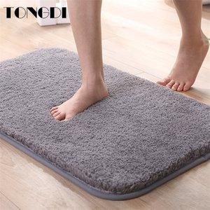 TONGDI Bathroom Carpet Mats Soft Shower Fannelette Microfiber Non-slip Rug Decoration For Home Living Kitchen Room parlour 201211