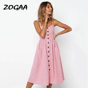 ZOGAA женщин платья лета 2020 Sexy Спагетти ремень Bohemian Твердая мундир пляж платье Сарафаны Карман Тонкий Бальные платья Женский