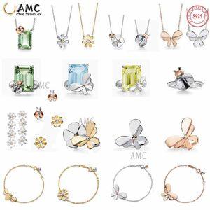 AMC حجر الراين مجموعة بيرل تيف 925 الفضة قلادة الإناث مجوهرات شعار الرسمي الكلاسيكية اليراع الشمس زهرة الحب قلادة بالجملة