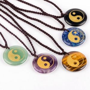 Carving Taoista Taiji Yin Yang Pesce modello della collana del pendente di cristallo naturale quarzo Reiki Healing uomo e Collana Donne