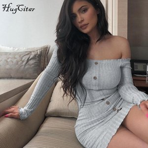 sexy dresses 2020 Autumn Winter Ribbed Knit Off the Shoulder Long Sleeve Button Up Mini Dress Fashion Trendy One Shoulder Skirt