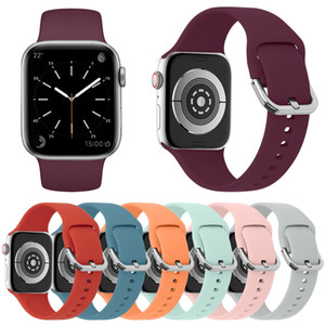 Silicone Sport Watch Strap For Apple Watch 6 SE 5 4 3 2 1 38 40 42 44mm Replacement Band Strap