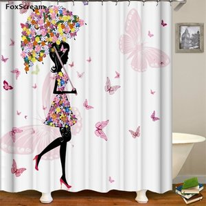 Floral shower curtains bathroom curtain Waterproof Flower Butterfly Bath Girl Flower Shower Curtain With Hooks 201128