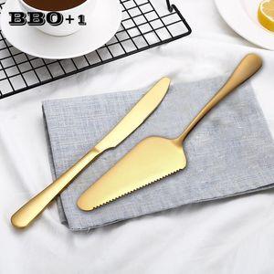 Anniversaire de mariage Spatule Dessert d'or Set serveur 23cm Petite pelle Outils d'or transfert Pizza Gâteau 9 Couteau à pain inoxydable bbyZVg