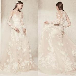 Lace floral Elie Saab Wedding Dresses Illusion Long Sleeves Vestido De Novia Jewel Neck Summer Beach Bridal Gowns Custom Made