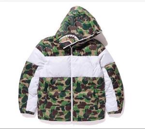 Fahison Vêtements pour hommes 20AW Outwear Veste à capuche Shark Head Broderie Épaissir coton de haute qualité Parkas Couleur Vert Taille: S-2TG
