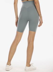 lu vfu women leggings yoga outfit thigh designer womens workout gym wear solid sports elastic fitness lady Align SHR Short 4 pants