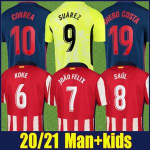 2020 Atlético JOAO FELIX Soccer Jersey SUAREZ camisa de futebol M.LLORENTE KOKE SAUL vermelho, branco camisa listrada crianças kit Camiseta colchoneros