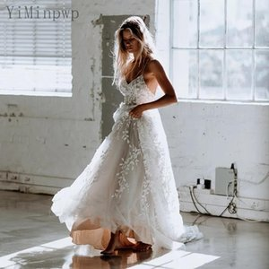 Lace Wedding Dresses Spaghetti Backless Sweep Train A Line Appliques Beach Country Bridal Gowns robes de mariee vestidos de novia Plus Size