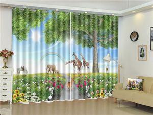 3D Curtain Fantasy Forest Elephant Giraffe Beautiful 3D Animal Blackout Curtain Living Room Bedroom Beautiful Practical Blackout Curtains