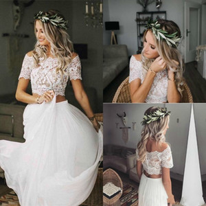 Two Pieces A Line Wedding Dresses 2019 Off Shoulder Summer Beach Country Lace Appliques Chiffon Floor Length Arabic Plus Size