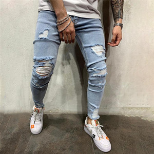 European and American new style fashion men's ripped denim, jeans designer crime ripped jeans, blue pencil pants hip-hop style trousers