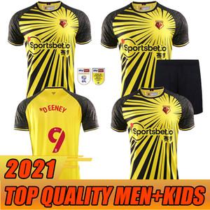 Erwachsene Kinder Kelme Watford F.C. Home Yellow Fussball Jersey 2020 2021 Watford F.C. Männer Kind Shorts Fußball-Hemd-Uniform