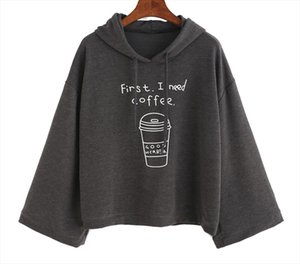 Pullovers Women Sweatshirt Long Sleeve Loose Cotton Letter Print Coffee Print Flare Sleeve Hooded Tops Dropshipping