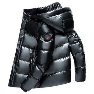 Uomini di alta qualità Inverno Bianco Anatra Duck Down Parka Spessa calda con cappuccio Outwear Black Glossy Uomo Down Coat Uomo Down Jacket 4XL 201119