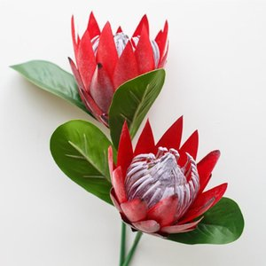 New Artificial Protea Flower Elegant Dried Imperial Flower for Home Decoration 1branch