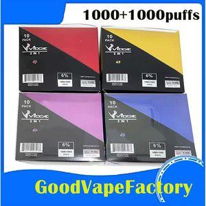 Authentic Vidge 2In1 Dispositivo de vaina desechable 6ml 950mAh 1000 + 1000 Puffs Vape Vape Bar System 11 Opciones E CIG Vapor Stick Starter Kit DHL Free Ship
