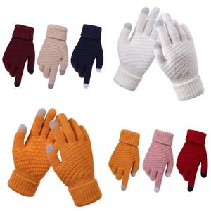 Вязание перчатки Five Finger Keep Warm Плюшевые жаккардовые переплетения холодной Proof Женщина Мужчина перчатки Зима 4 8dl K2