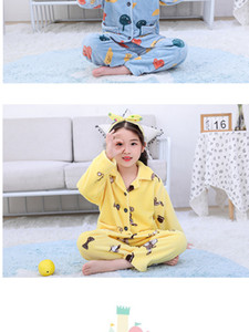 Autumn and winter new baby coral velvet pajamas children's thickened children's flannel home wear set for boys and girls