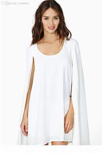 Venta al por mayor-XS - XXL MAGICA MAGICA BAVY COAK CAPE CAPE ELEGIENTE TEMPERAMIENTE Cuello redondo vestido de gasa Haoduoyi Black White Dress HD028