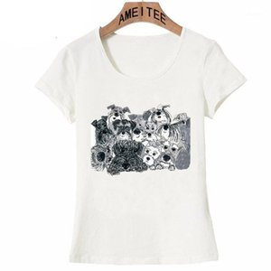 Pencil sketch Schnauzer Art T-Shirt Summer Women T-shirt Funny Dog Abstract Print Casual Female Tops maiden Tee1