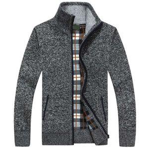New Autumn Winter Men Sweater Warm Cashmere Wool Zipper Cardigan Men Coat Dress Casual Knitwear Male Clothes 201022