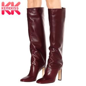 KemeKiss Plus Size 34-43 Stiefel New Design Pelz warme Winter-Schuh-Frauen arbeiten Absatz Botas Frau Schuhe C1105
