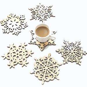 Plato de los copos de nieve de madera Dinner Party Decoraciones de la Navidad Mat Copa Bandeja Cojín para la decoración casera 6 Estilo DWF2278