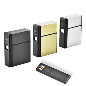 2 in 1 metallo sigaretta cassa per accendisigari portatile 20 pezzi scatola di sigaretta creativa sigaretta cabina di sigaretta usb accendino ricaricabile