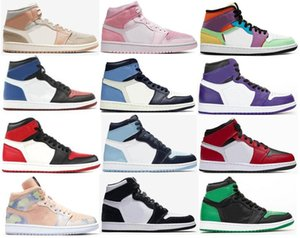 Nuevos zapatos de baloncesto del dedo del pie de la panda del medio Milan Rosa Chicago Digital Negro Bombilla 1 Torsión Hombres 1s Top 3 del dedo del pie Bred Corte púrpura UNC patente de las zapatillas de deporte