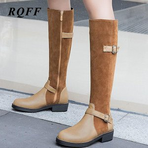 2020 Winter Knee-High Boots for Women Plus Size 43 44 Fashion Med Square Heel Shoes Woman Riding Equeatrian Platform Buckle Zip
