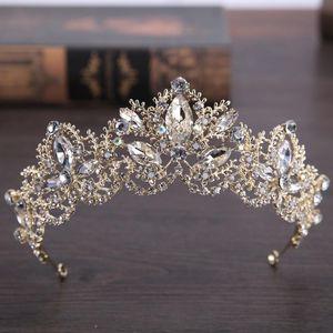 2020 New Fashion Luxury Crystal AB Bridal Crown Tiaras Light Gold Diadem Tiaras for Women Bride Wedding Hair Accessories