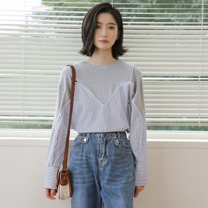 lGOpL 2020 осень новой корейская поддельного свитера шить макияж стиль шерсти шерсти двухсекционного чувства дизайна Hong Kong контраст похудение полосатого стиль с