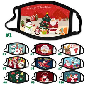 2020 New Fashion Christmas Kids Adult Face Masks Printed Xmas Face Masks Anti Dust fog Snowflake Mouth Cover Breathable Washable Reusable