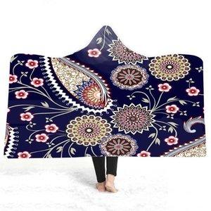 Бесплатная доставка подарок Богемская мандала цветок Paisley Pattern Plush Flece взрослых детей с капюшоном одеяло теплые путешествия кемпинг диван бросок
