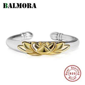 Balmora 925 plata esterlina de oro flor de Lotus Empilar los anillos abiertos para las mujeres de señora simple declaración joyas de moda 201110