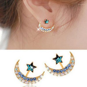 A Pair of Ear Stud Fashion Crystal Unique Moon and Stars Shaped Earrings Ear Jacket Dangler for Women Ladies Girls1