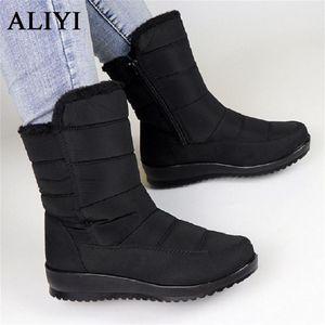Waterproof Boots Women 2020 Winter Fashion Side Zipper Ladies Warm Snow Shoes Light Plus Velvet Thick Female Long Boots