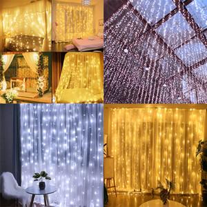3 * 3m 300leds ha condotto la tenda della stringa della luce di Natale principale Garland partito luci patio finestra natalizia Decor natale sposa UE 220V