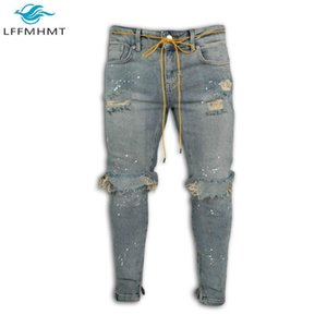 Men American Style Fashion Slim Fit Vintage Jeans Male Casual Rip Hole Paint Denim Pants Youth Cargo Hip-Hop Streetwear Trousers