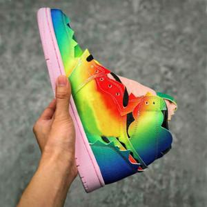 J. Balvin X 1 OG Yüksek Renkler Y Vibras 1s Gökkuşağı Degrade Basketbol Ayakkabıları Erkek Sneakers Spor Eğitmenleri
