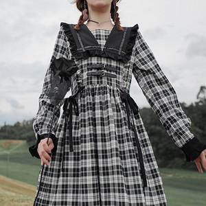 QWEEK Gotik Lolita Giydir Goth Ekose Sonbahar Kawaii elbise Kadınlar Midi fırfır Uzun Kollu Elbise Günlük Tatlı Patchwork VestidoA1110