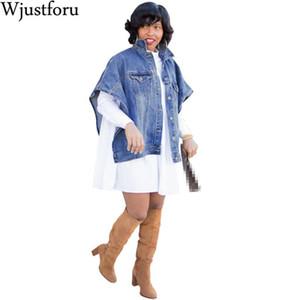 Wjustforu Loose Casual Denim Jacket Women Autumn Winter Short Sleeve Irregular Jean Jacket Fit style Solid Denim Coat Vestidos