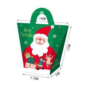 Cajas de regalo de la víspera de Navidad creativa Llevar bolsas Navidad Caja de dulces Santa Claus Papel Cajas de regalo Diseño Impreso Packing Box Decoration HWB2719