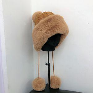 winter rabbit female Light widened imitation luxury hair cold proof Lei Feng hat Korean wool ball Plush warm knitted