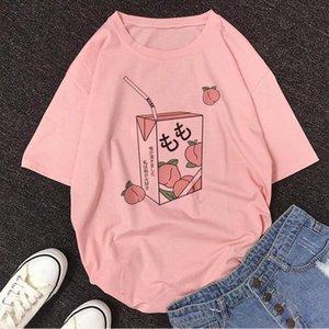 new Juice Japanses Aesthetic Cartoon Peach Grunge blouse women Harajuku Kawaii Pink shein Summer Casual Tumblr Outfit vadim Tops