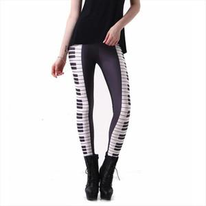HOT SEXY! Black White Piano Keys Painted Leggings Women Full Anke Length Geometric Ladies Pants Free Shipping
