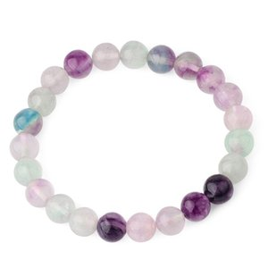 Real Natural Stone Stretch Bracelet 8mm Fluorite Beads Crystal Bracelets Bangles Women Fashion 2020 Rainbow Pulseras